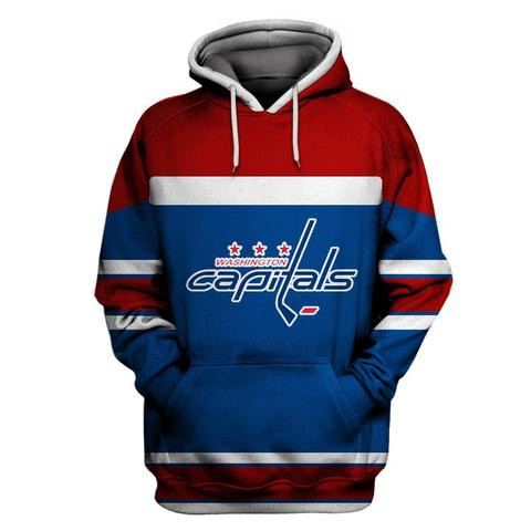 Men's Washington Capitals Blue All Stitched Hooded Sweatshirt