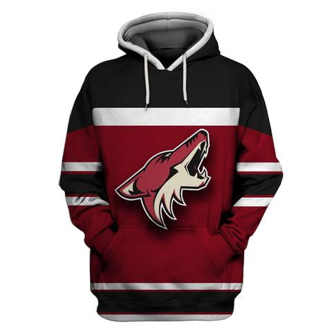 Men's Arizona Coyotes Wine All Stitched Hooded Sweatshirt