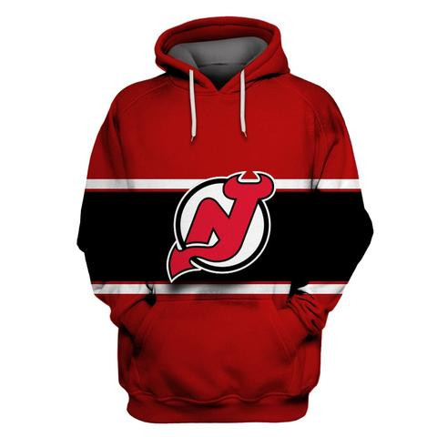 Men's New Jersey Devils Red All Stitched Hooded Sweatshirt