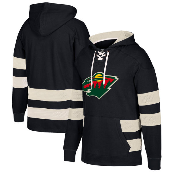 Minnesota Wild Black Men's Customized All Stitched Hooded Sweatshirt
