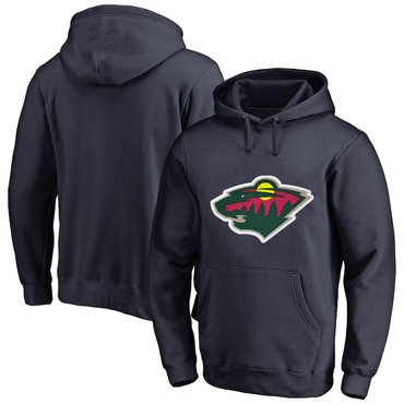 Minnesota Wild Navy Men's Customized All Stitched Pullover Hoodie
