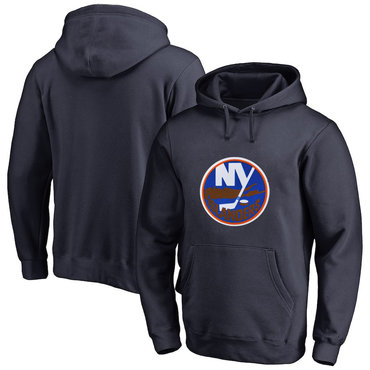 New York Islanders Navy Men's Customized All Stitched Pullover Hoodie