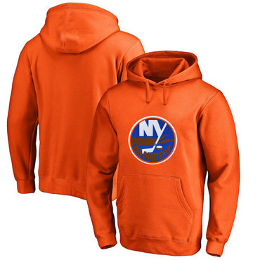 New York Islanders Orange Men's Customized All Stitched Pullover Hoodie