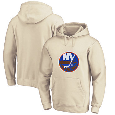 New York Islanders Cream Men's Customized All Stitched Pullover Hoodie