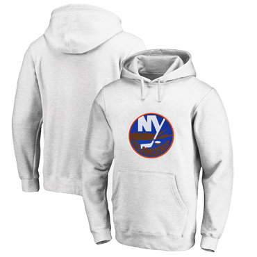 New York Islanders White Men's Customized All Stitched Pullover Hoodie