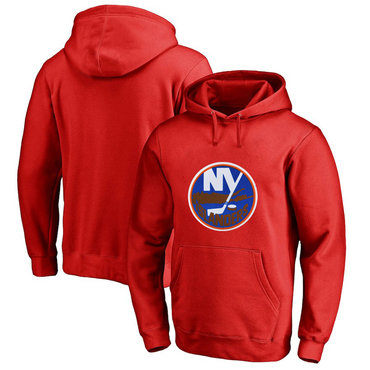 New York Islanders Red Men's Customized All Stitched Pullover Hoodie