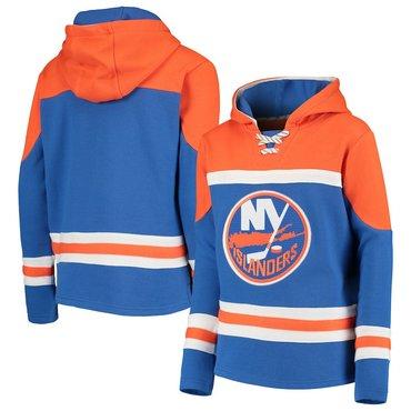 New York Islanders Blue Men's Customized All Stitched Hooded Sweatshirt