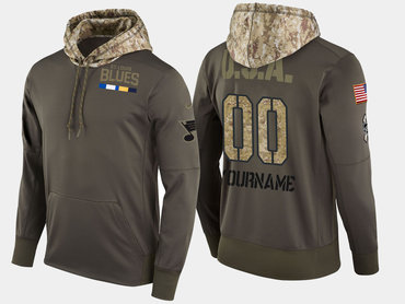 Nike Blues Men's Customized Olive Salute To Service Pullover Hoodie