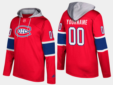 Adidas Canadiens Men's Customized Name And Number Red Hoodie