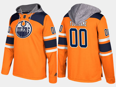 Adidas Oilers Men's Customized Name And Number Orange Hoodie