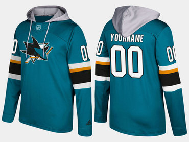 Adidas Sharks Men's Customized Name And Number Teal Hoodie