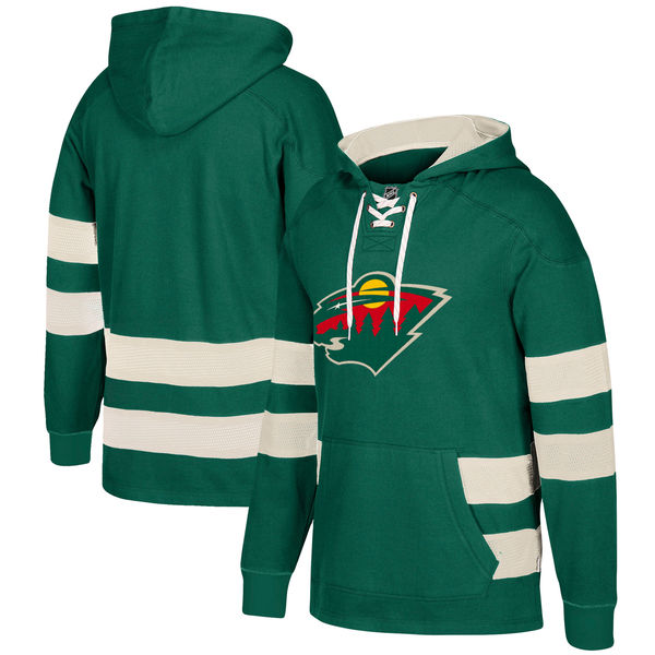 NHL Minnesota Wild Green Men's Customized All Stitched Hooded Sweatshirt