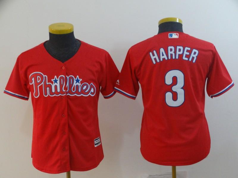 Youth Philadelphia Phillies #3 Bryce Harper Scarlet Cool Base Jersey