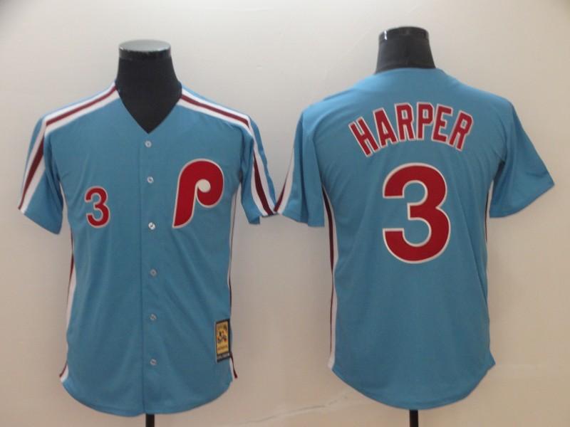 Women Philadelphia Phillies #3 Bryce Harper Light Blue Cool Base Cooperstown Jersey