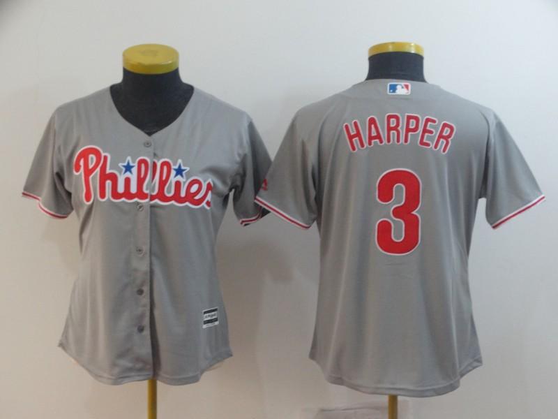 Women Philadelphia Phillies #3 Bryce Harper Gray Cool Base Jersey