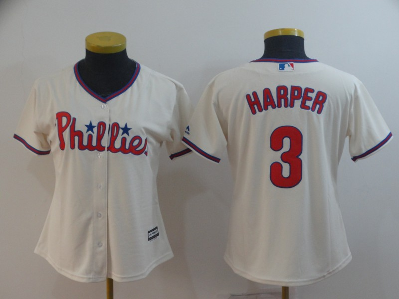 Women Philadelphia Phillies #3 Bryce Harper Cream Cool Base Jersey