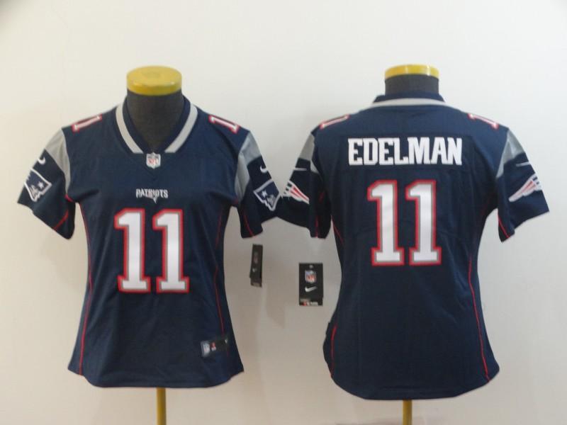 Women Nike New England Patriots #11 Julian Edelman Navy Vapor Untouchable Limited Jersey
