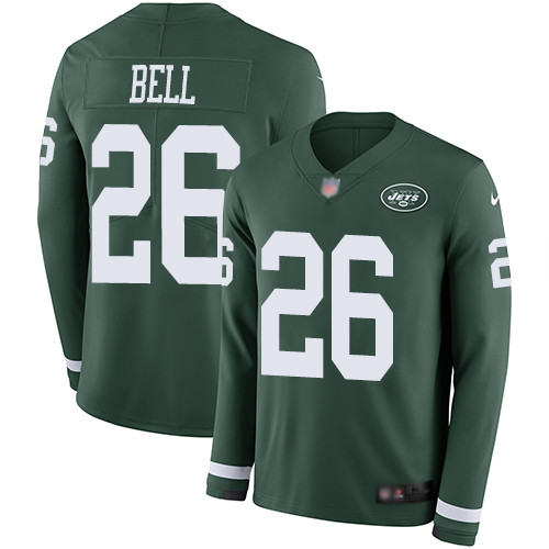 Men's New York Jets #26 Le'Veon Bell Green Team Color Stitched Football Limited Therma Long Sleeve Jersey