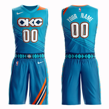 Thunder Blue 2018-19 City Edition Men's Customized Nike Swingman Jersey(With Shorts)