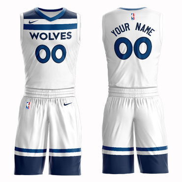 Timberwolves White Men's Customized Nike Swingman Jersey(With Shorts)