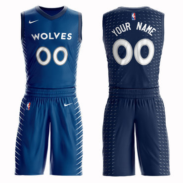 Timberwolves Blue Men's Customized Nike Swingman Jersey(With Shorts)