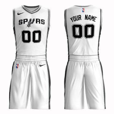 Spurs White Men's Customized Nike Swingman Jersey(With Shorts)