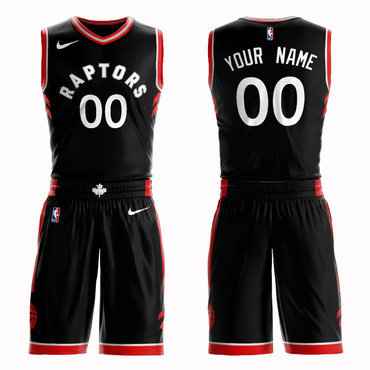 Raptors Black Men's Customized Nike Swingman Jersey(With Shorts)
