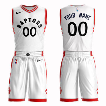 Raptors White Men's Customized Nike Swingman Jersey(With Shorts)