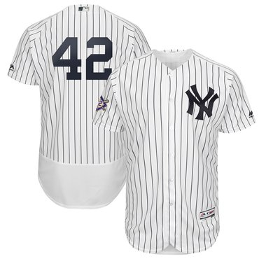 Men's New York Yankees #42 Mariano Rivera White 2019 Jackie Robinson Day FlexBase Jersey