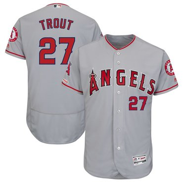 Men's LA Angels of Anaheim 27 Mike Trout Gray 150th Patch Flexbase Jersey