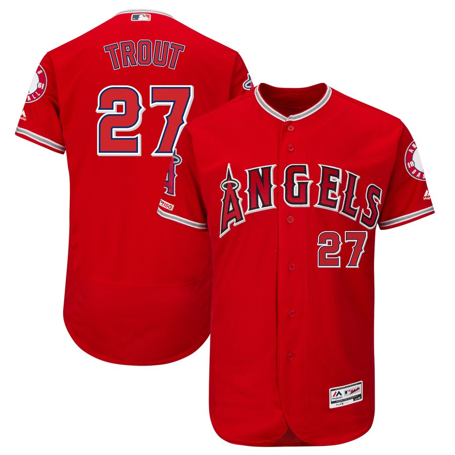 Men's LA Angels of Anaheim 27 Mike Trout Scarlet 150th Patch Flexbase Jersey
