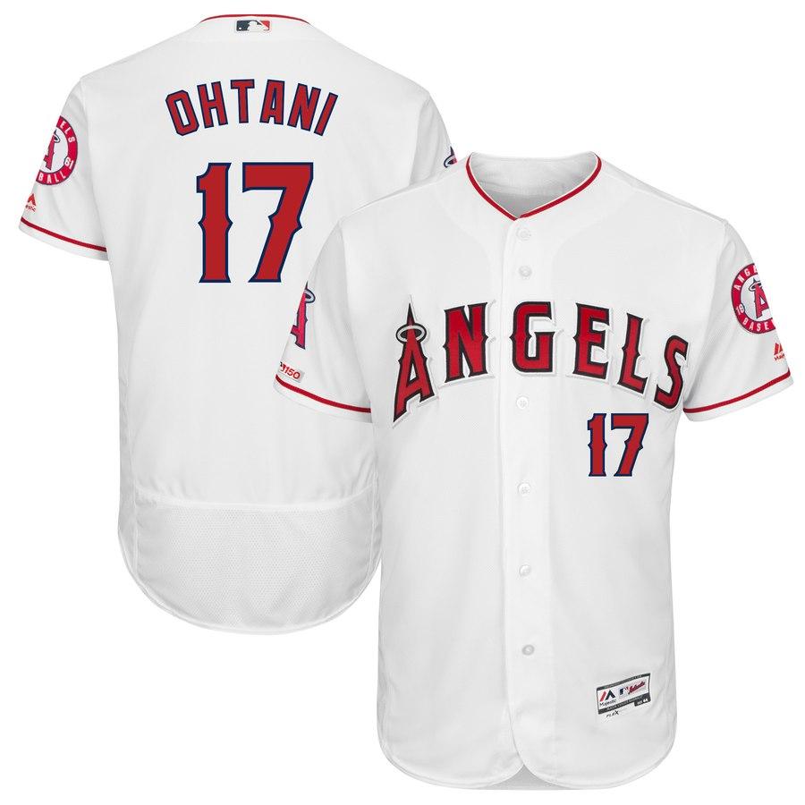 Men's LA Angels of Anaheim 17 Shohei Ohtani White 150th Patch Flexbase Jersey