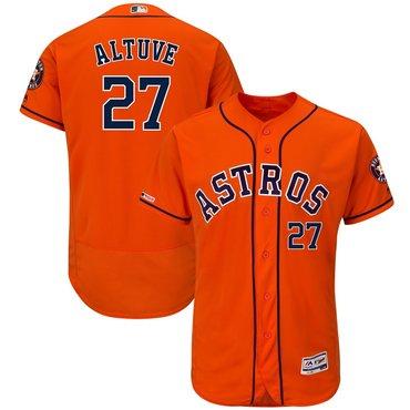 Men's Houston Astros 27 Jose Altuve Orange 150th Patch Flexbase Jersey