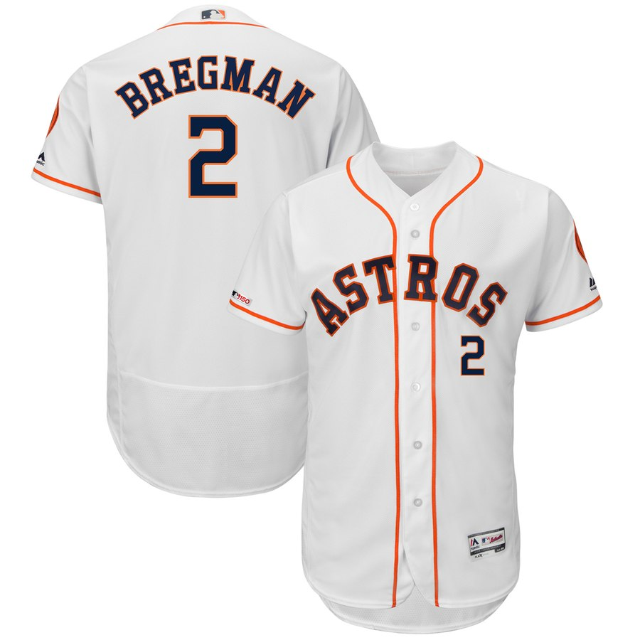 Men's Houston Astros 2 Alex Bregman White 150th Patch Flexbase Jersey