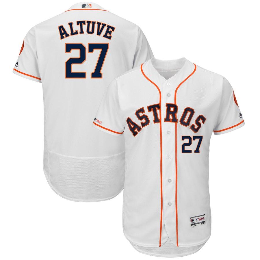 Men's Houston Astros 27 Jose Altuve White 150th Patch Flexbase Jersey