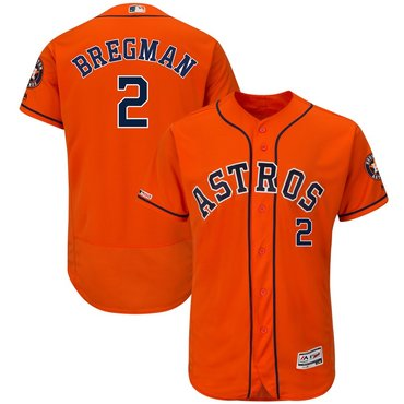 Men's Houston Astros 2 Alex Bregman Orange 150th Patch Flexbase Jersey