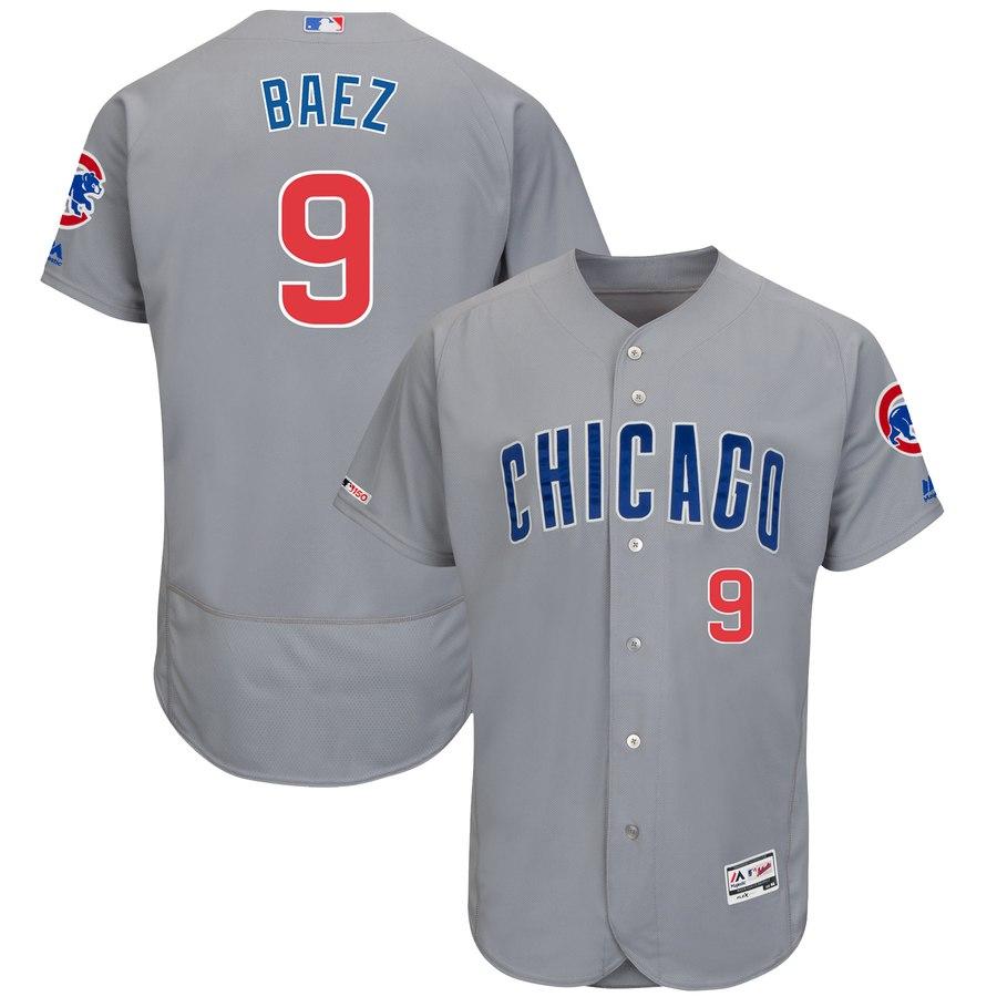 Men's Chicago Cubs 9 Javier Baez Gray 150th Patch Flexbase Jersey