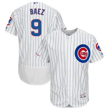 Men's Chicago Cubs 9 Javier Baez White 150th Patch Flexbase Jersey