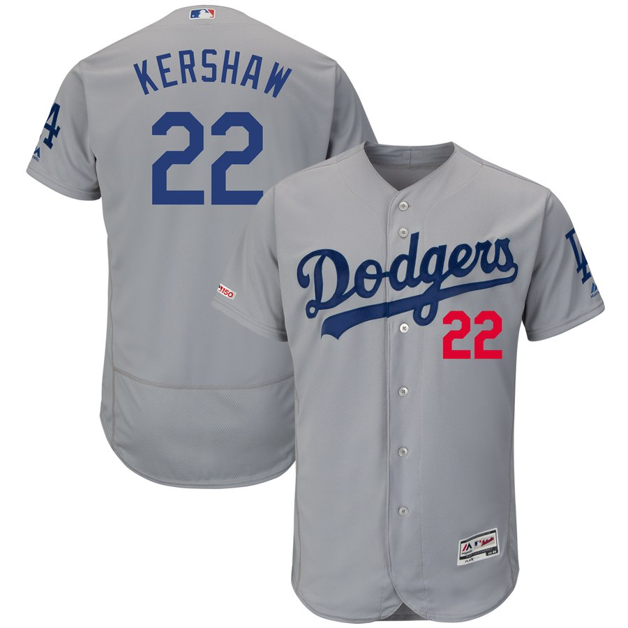 Men's Los Angeles Dodgers 22 Clayton Kershaw Gray 150th Patch Flexbase Jersey