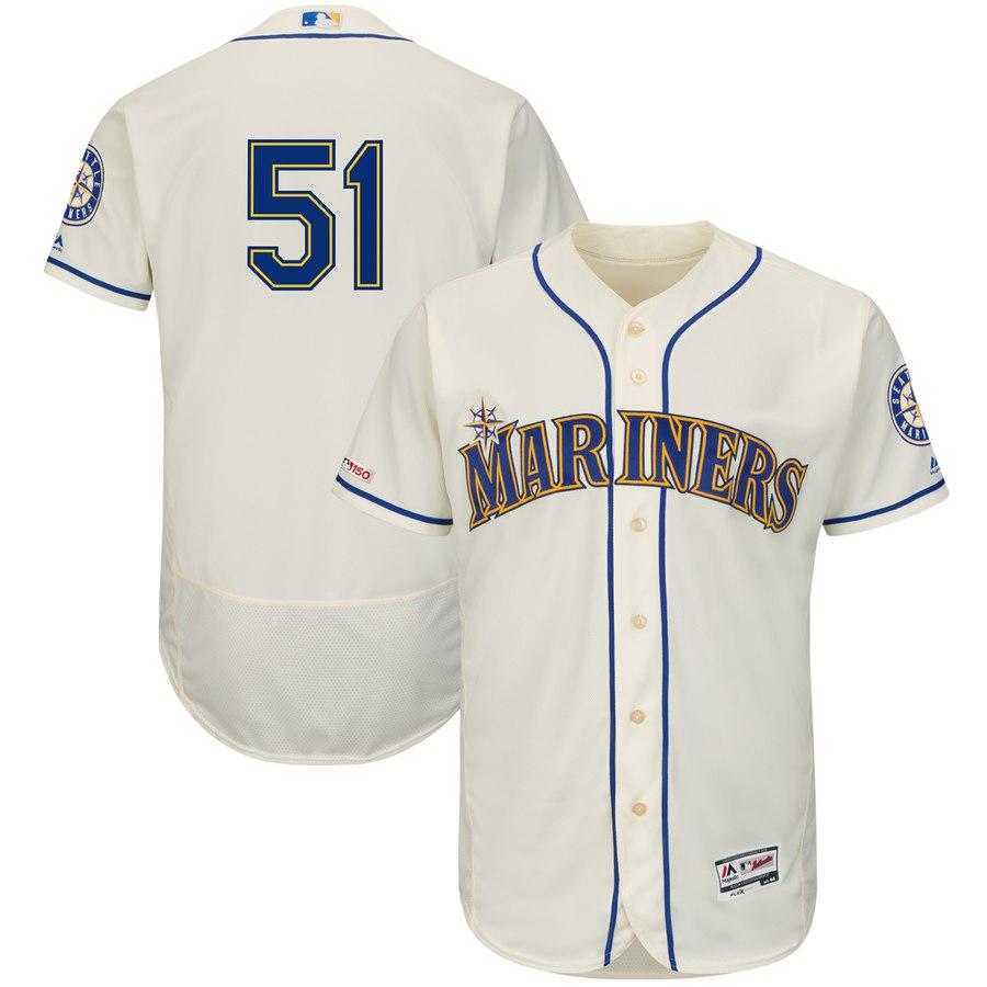 Men's Seattle Mariners 51 Ichiro Suzuki Cream 150th Patch Flexbase Jersey