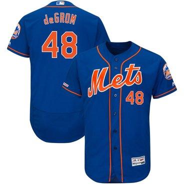 Men's New York Mets 48 Jacob deGrom Royal 150th Patch Flexbase Jersey