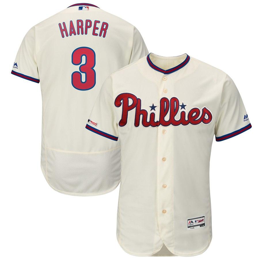 Men's Philadelphia Phillies 3 Bryce Harper Cream 150th Patch Flexbase Collection Jersey