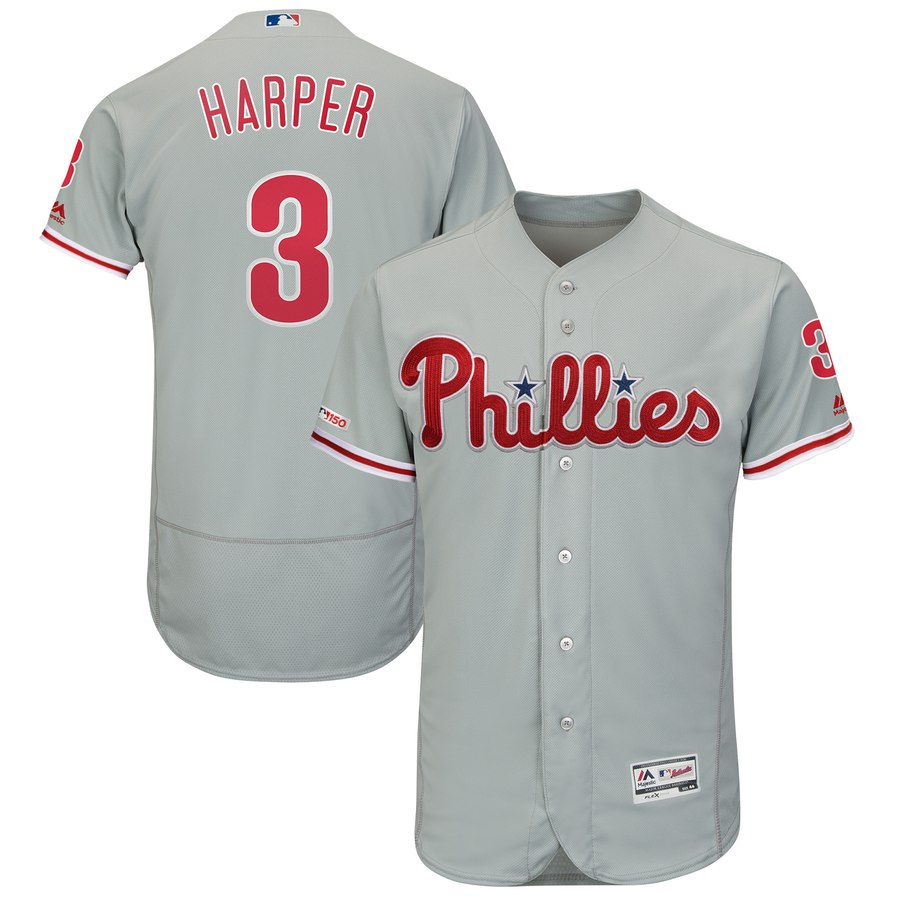 Men's Philadelphia Phillies 3 Bryce Harper Gray 150th Patch Flexbase Collection Jersey