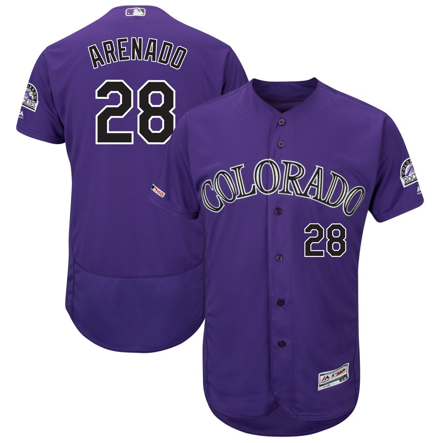 Men's Colorado Rockies 28 Nolan Arenado Purple 150th Patch Flexnase Jersey