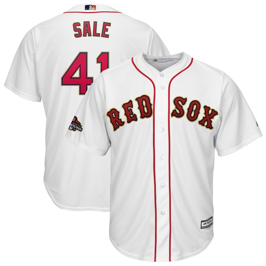 Men's Boston Red Sox 41 Chris Sale White 2019 Gold Program Cool Base Jersey