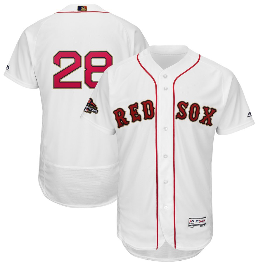 Men's Boston Red Sox 28 J.D. Martinez White 2019 Gold Program FlexBase Jersey