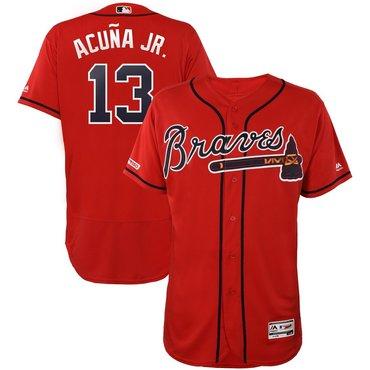 Men's Atlanta Braves #13 Ronald Acuna Jr Scarlet 150th Patch Flexbase Jersey