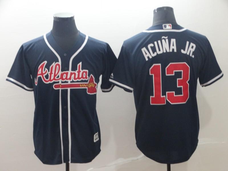 Men's Atlanta Braves 13 Ronald Acuna Jr. Navy Cool Base Jersey