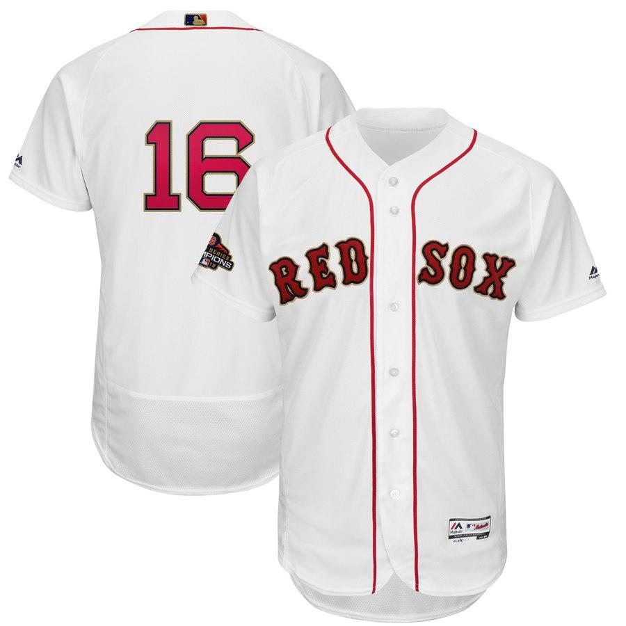 Youth Boston Red Sox 16 Andrew Benintendi White 2019 Gold Program FlexBase Jersey