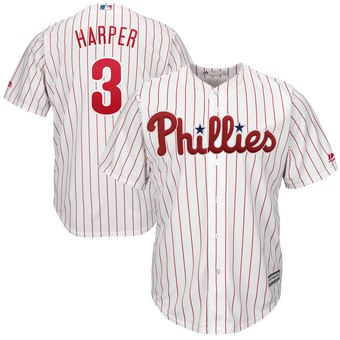 Men's Philadelphia Phillies #3 Bryce Harper White Home Stitched MLB Majestic Cool Base Jersey